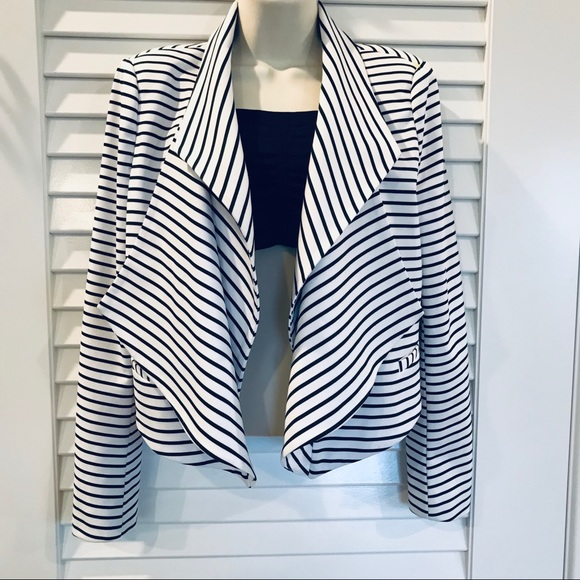 Ark & Co Jackets & Blazers - Ark& Co. Black & White Pira Drape Striped Blazer